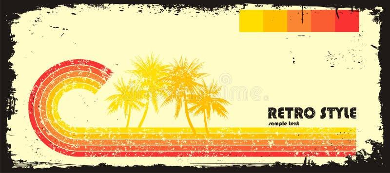 Retro stijlgolf met palmen stock illustratie