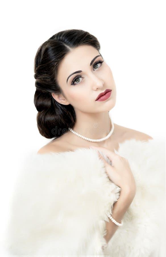 Retro stijlportret van aantrekkelijk jong model royalty-vrije stock fotografie