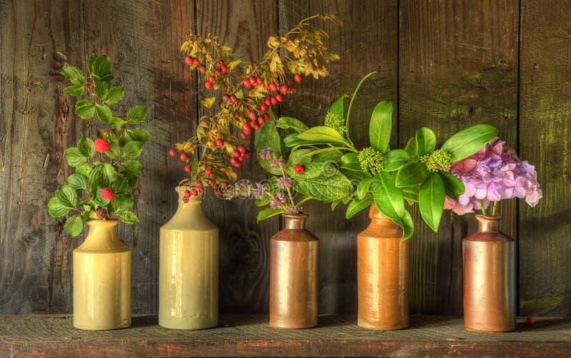 Retro stijlstilleven van droge bloemen in vazen royalty-vrije stock fotografie