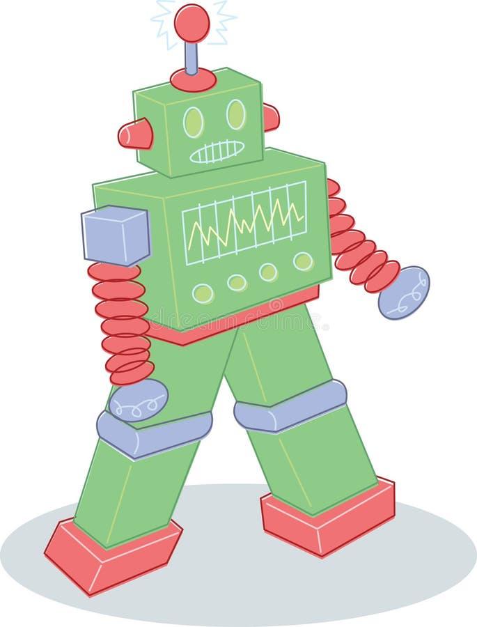 Retro stijlstuk speelgoed robotillustratie vector illustratie
