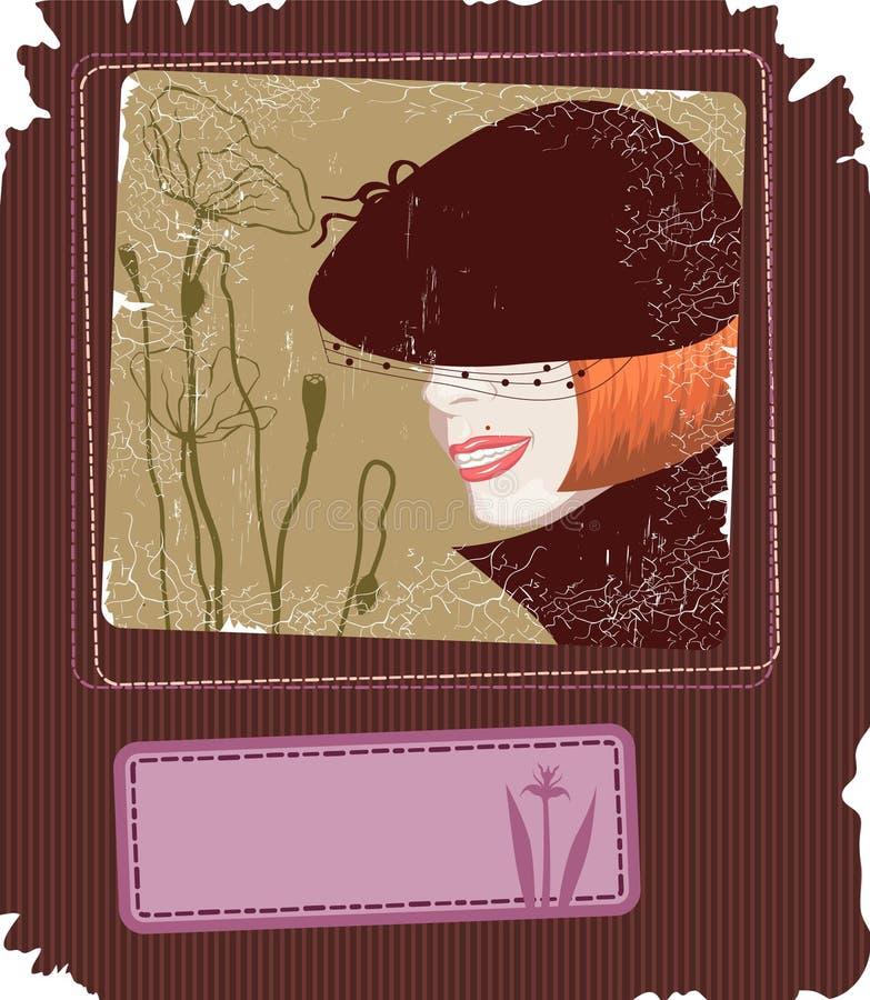 retro stil för kort stock illustrationer