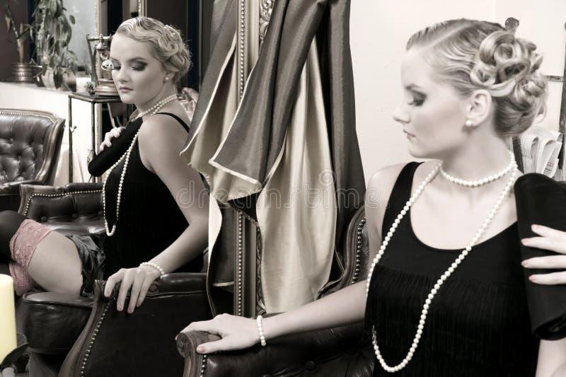 retro stil för lady royaltyfria bilder