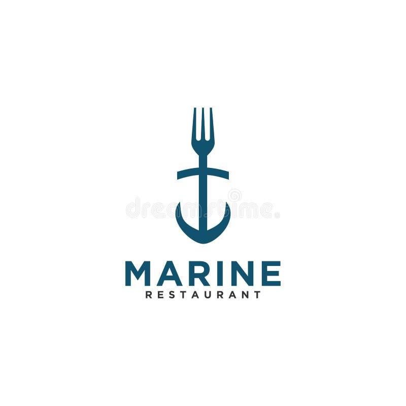 Retro stil för marin- design för gaffelrestauranglogo royaltyfri illustrationer