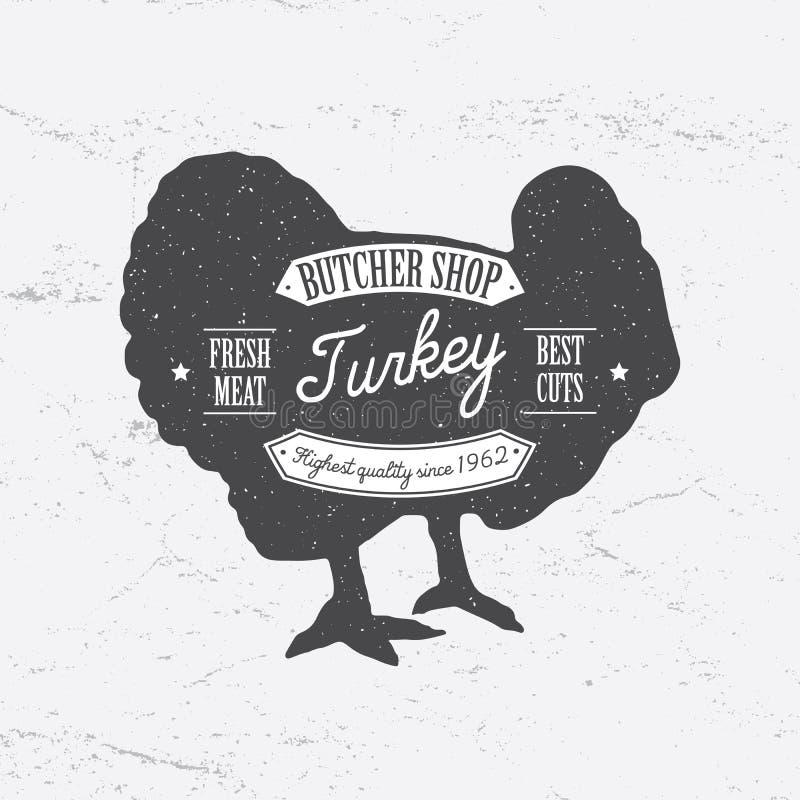 Retro stil för slaktareShop Logo mall Tappningdesign för logotyp-, etikett-, emblem- och märkesdesign Retro vektor för Turkiet ko royaltyfri illustrationer