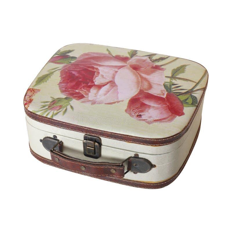 Retro stil - liten resväska för tappning isolerat arkivbild