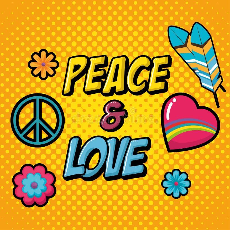 Retro stilbakgrund för hippie stock illustrationer