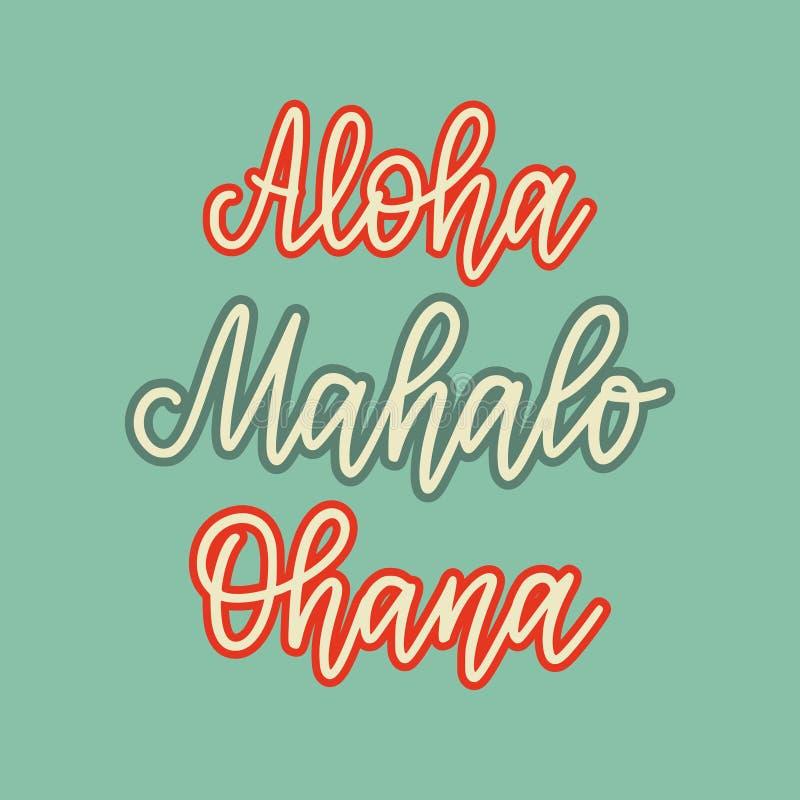 Retro stilbokstäver för vektor Ställ in av ord i hawaiibo Hello farväl, förälskelse, tacka dig, familj stock illustrationer