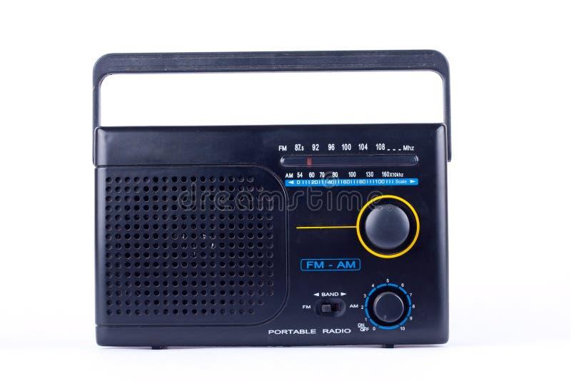 Retro stile d'annata nero, ricevitore del transistor della radio portatile di FM su fondo bianco isolato fotografie stock libere da diritti