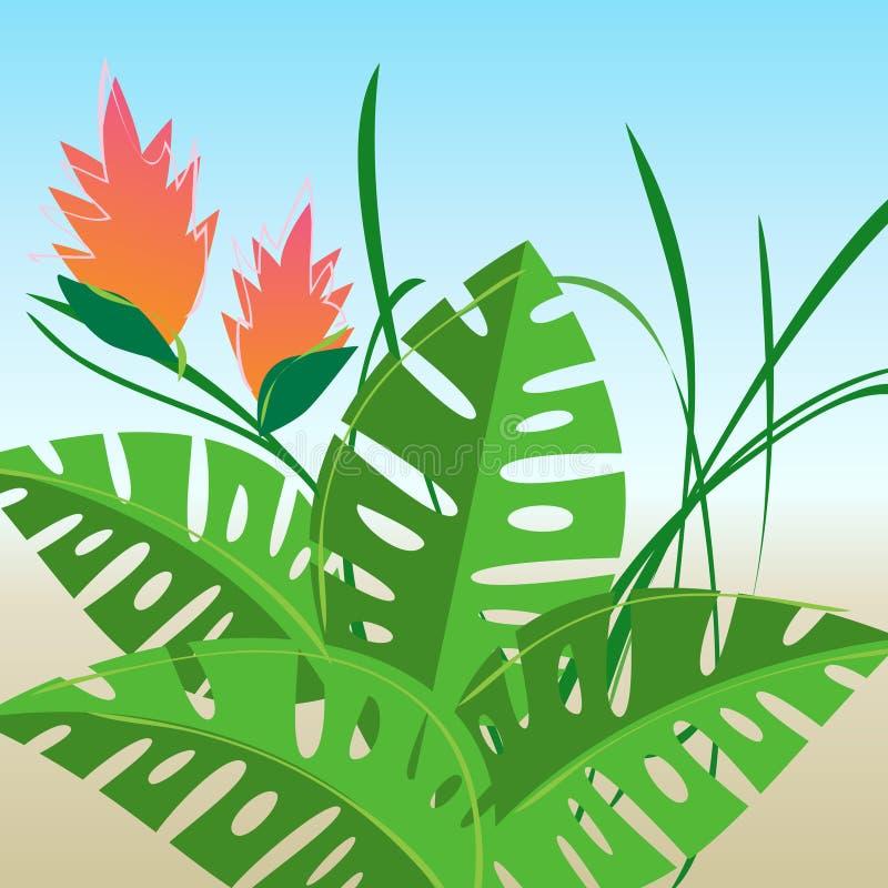 Retro--stilisiert tropische Blumen lizenzfreie abbildung