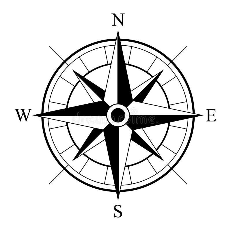 Retro stilkompasssymbol, för tappningkompass för vind rosa symbol royaltyfri illustrationer