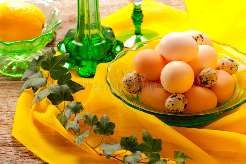 Retro still life with eggs stock image