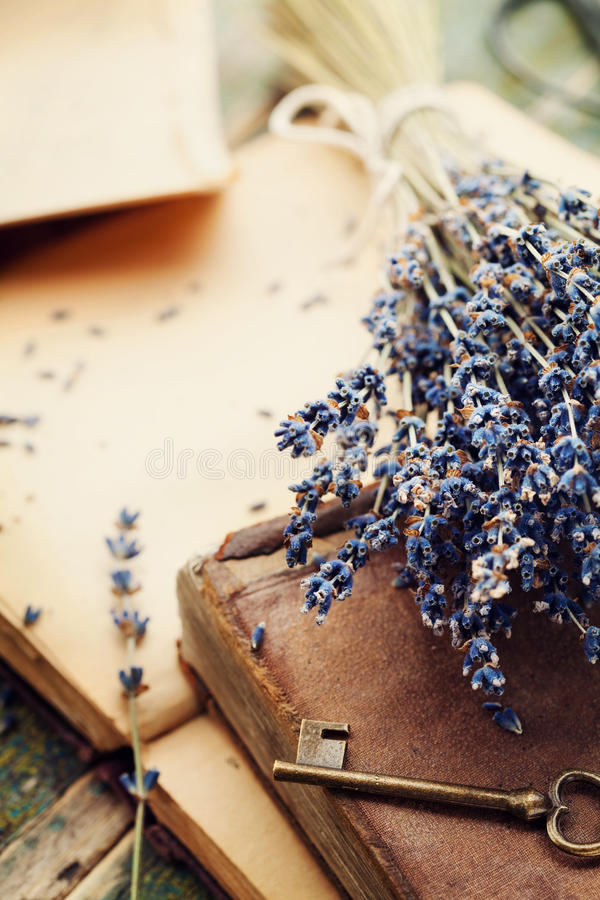 Retro still life with vintage books, old key and lavender flowers, nostalgic composition. royalty free stock image