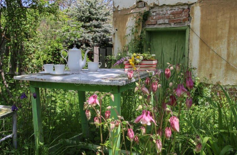 Retro stilleben i en lantlig trädgård mycket av blommor royaltyfria foton
