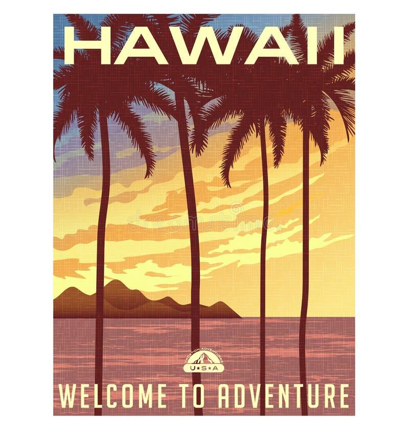 Retro stilloppaffisch eller klistermärke hawaii royaltyfri illustrationer