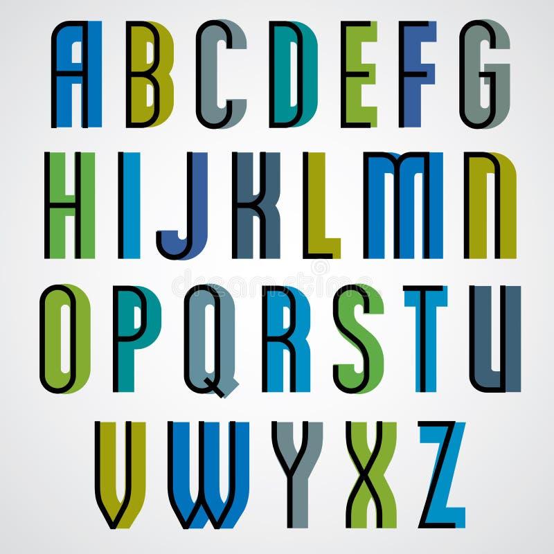 Retro stilsort, djärva förtätade bokstäver stilsort, stora bokstavsuppsättning vektor illustrationer