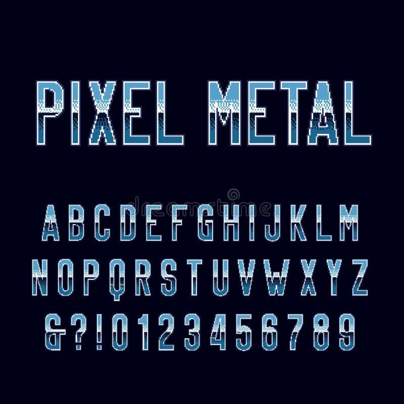 Retro stilsort för alfabet för gallerilek Bokstäver och nummer för PIXELmetalllutning stock illustrationer