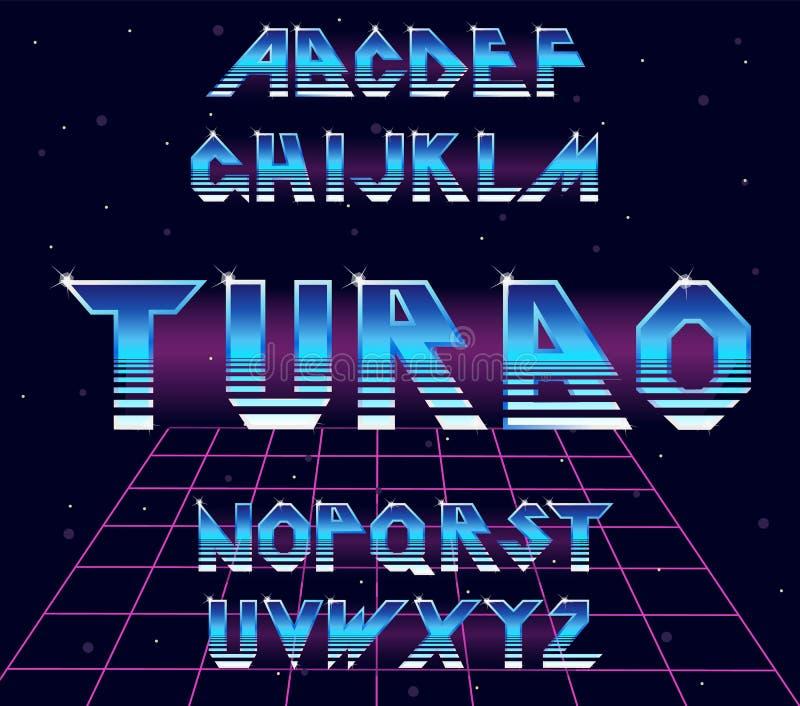 Retro stilsort för alfabet80-tal royaltyfri illustrationer