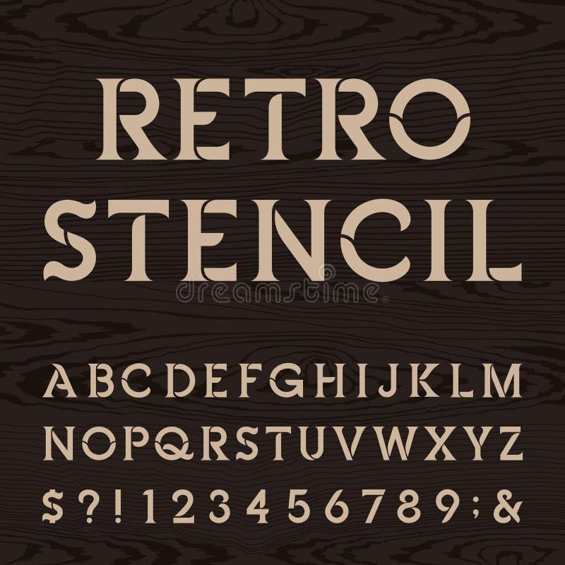 Retro stilsort för alfabetvektorstencil royaltyfri illustrationer