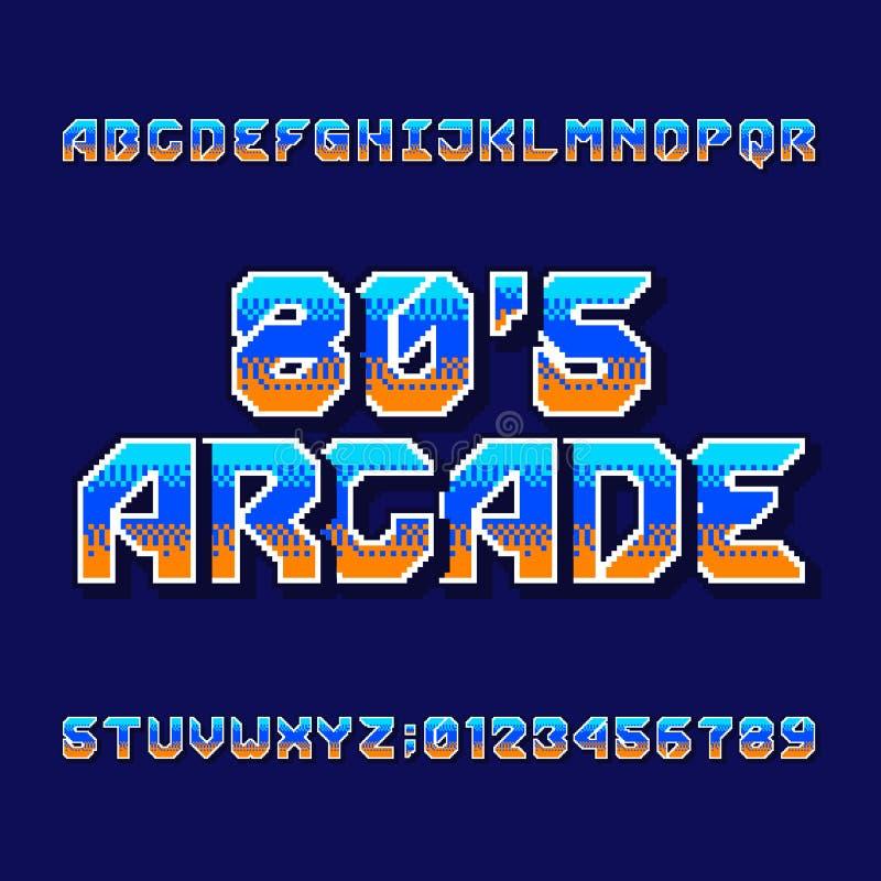 Retro stilsort för 80-taldataspelalfabet Den Digital PIXELlutningen märker och nummer stock illustrationer