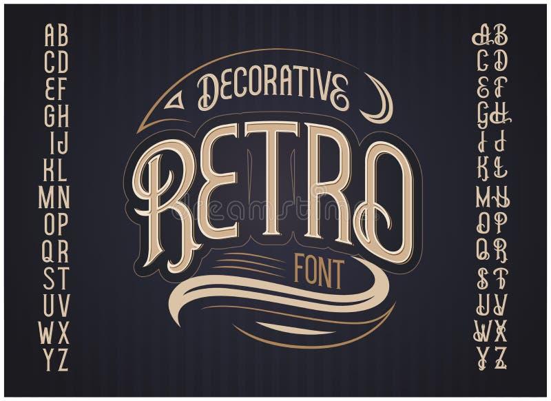 Retro stilsort för vektor vektor för stil för stilsort för design för abc-alfabet färgrik stock illustrationer