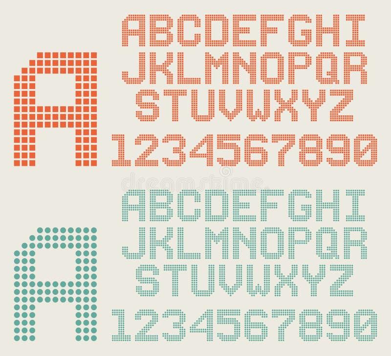 Retro stilsort, PIXELbokstäver och nummer, prickigt alfabet stock illustrationer