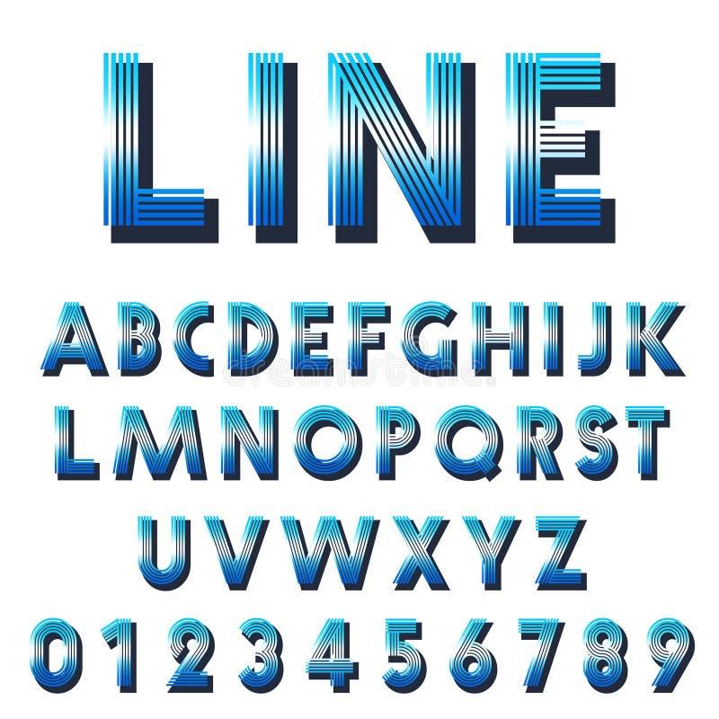 Retro stilsortsmall Ställ in av bokstäver, och nummerlinjer planlägger royaltyfri illustrationer