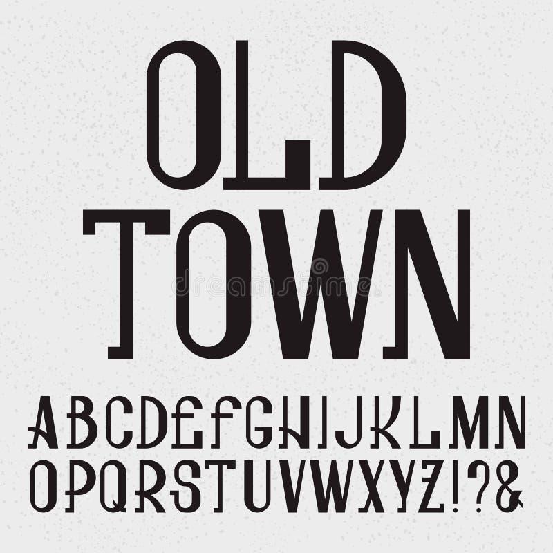 Retro stilstilsort Svarta versalar Isolerat engelskt alfabet med den gamla staden för text royaltyfri illustrationer