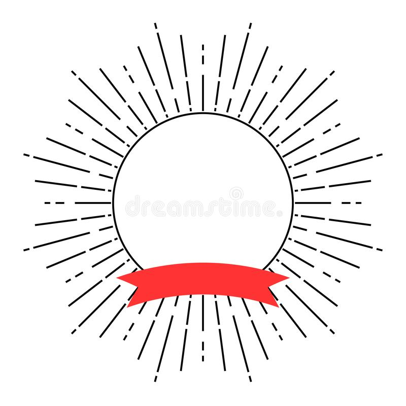 Retro stilsvart fodrar och det röda bandmellanrumsbanret royaltyfri illustrationer