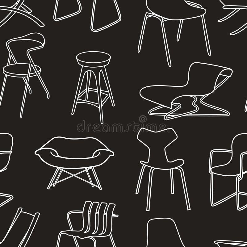 Retro stoelen naadloos patroon van meubilair op blac vector illustratie