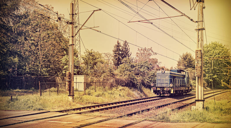 Retro stonowany obrazek lokomotywa obrazy stock