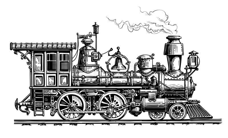 Retro stoomlocomotief, trein Uitstekende schets vectorillustratie royalty-vrije illustratie