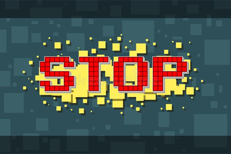 Retro stoppknapp för rött PIXEL för videospel vektor illustrationer
