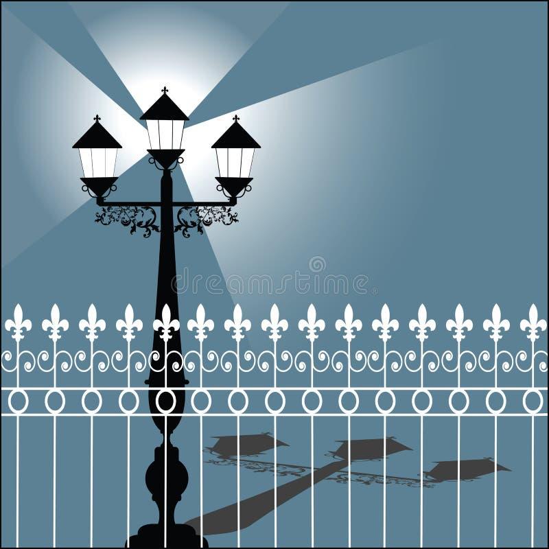 Retro- Straßenbeleuchtung mit Zaun lizenzfreie abbildung