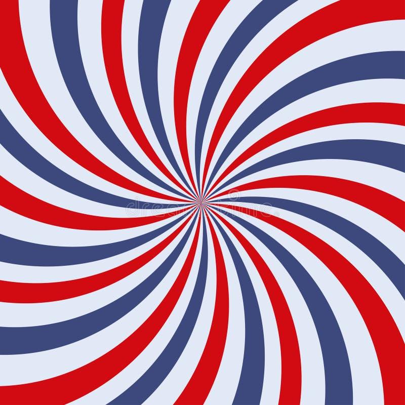 Retro straal rode en blauwe kleuren als achtergrond Vector illustratie stock illustratie