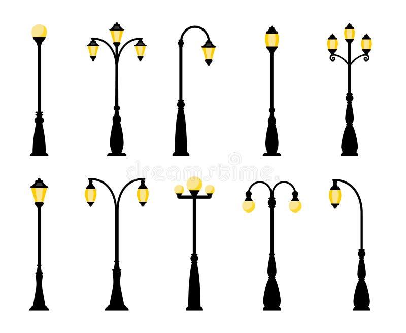 Retro straatlantaarnlichten stock illustratie
