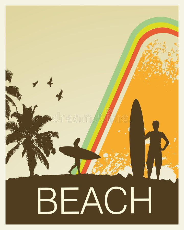 Retro Strand vector illustratie