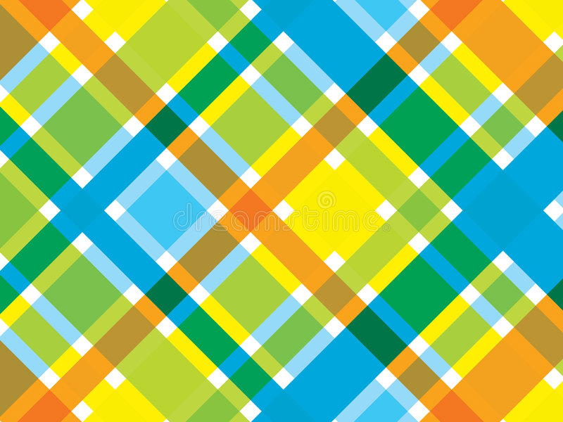 Retro strand blauwe oranje plaid royalty-vrije illustratie