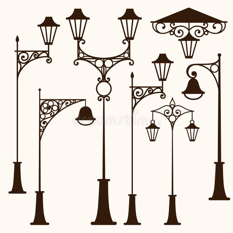 Retro street lamp royalty free illustration