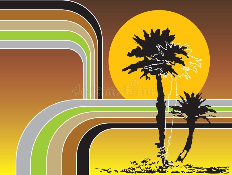Retro strepen tropische vakantie stock illustratie