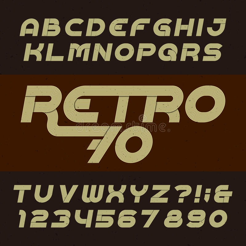 Retro stripe alphabet vector font. Funky oblique type letters, numbers and symbols. vector illustration