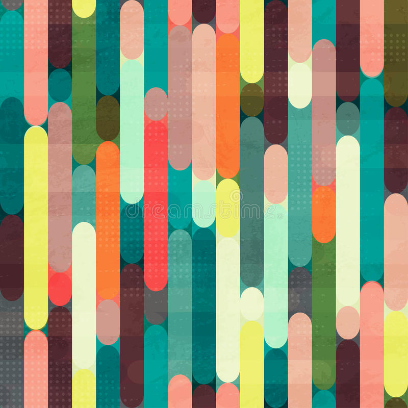 Retro stripe seamless pattern with grunge effect vector illustration
