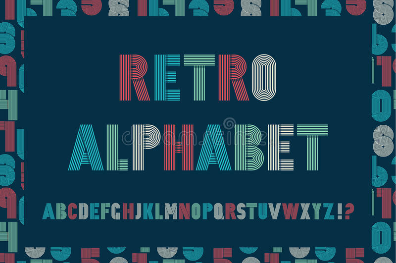 Retro stripes funky fonts seamless pattern. royalty free illustration