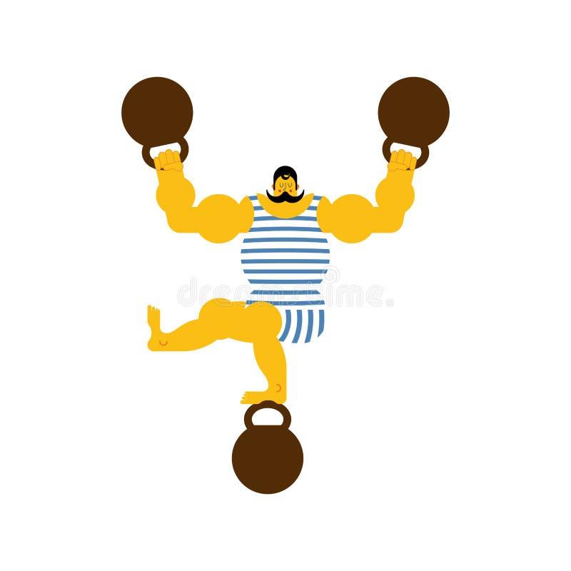 Retro strongman en gewicht Uitstekende sportman Circus bodybuilde vector illustratie