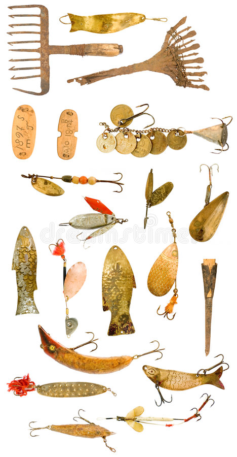 Retro strumentazione di pesca fotografia stock libera da diritti