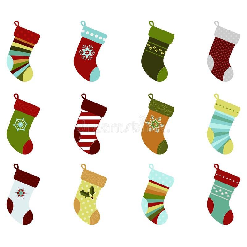 retro strumpor för jul royaltyfri illustrationer