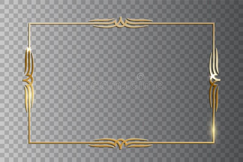 Retro struttura brillante dorata isolata su fondo trasparente Elemento d'annata di progettazione di vettore illustrazione vettoriale