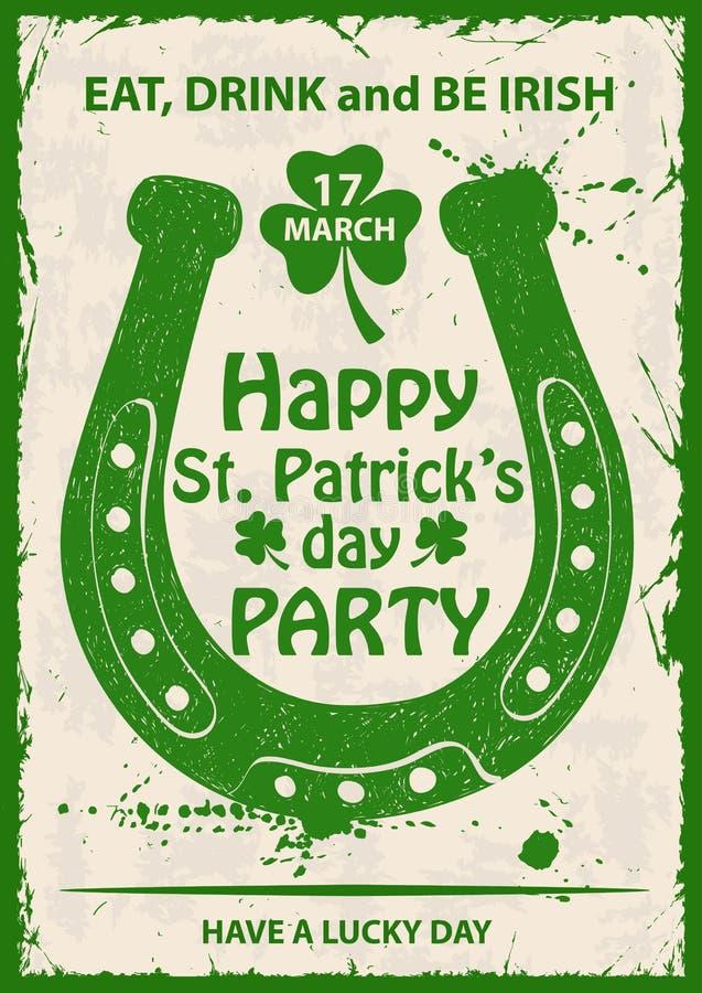 Retro Sts Patrick affisch för dagtypografi med hästskon royaltyfri illustrationer