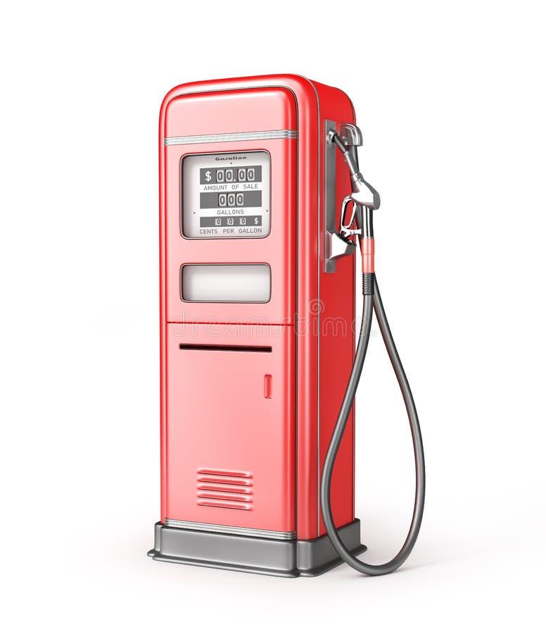 Retro stsation rosso del gas isolato su un bianco illustrazione vettoriale