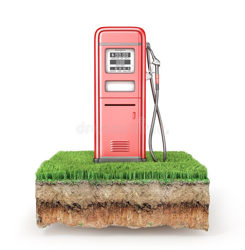 Retro stsation rosso del gas su un pezzo di terra con erba illustrazione vettoriale