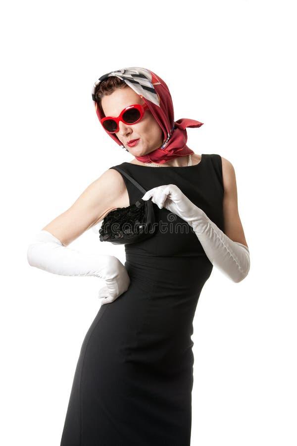 Retro style. Fashionable retro style mature woman isolate don white stock images
